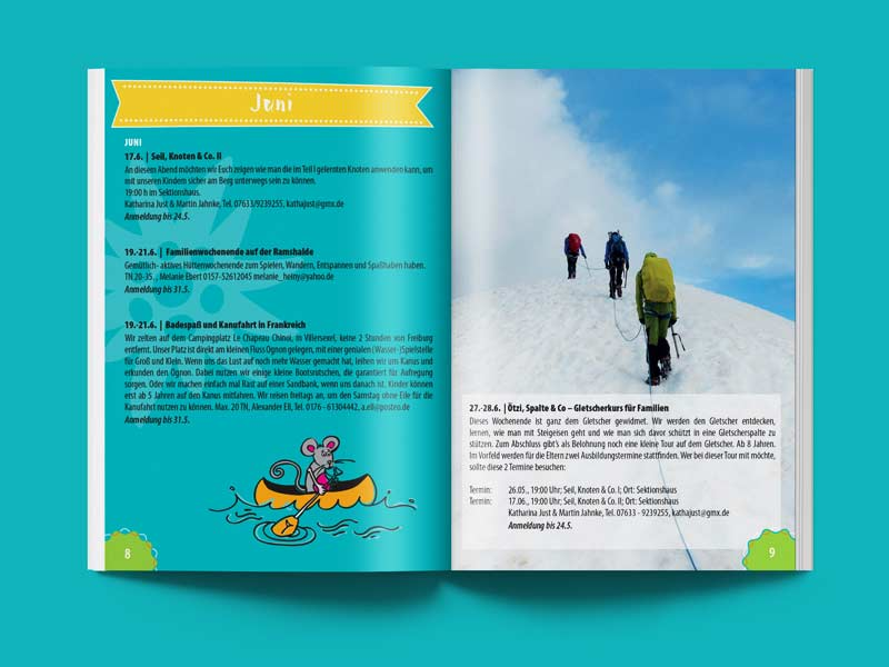 Broschüre, Programm-Gestaltung - DAV Sektion Freiburg Familiengruppe