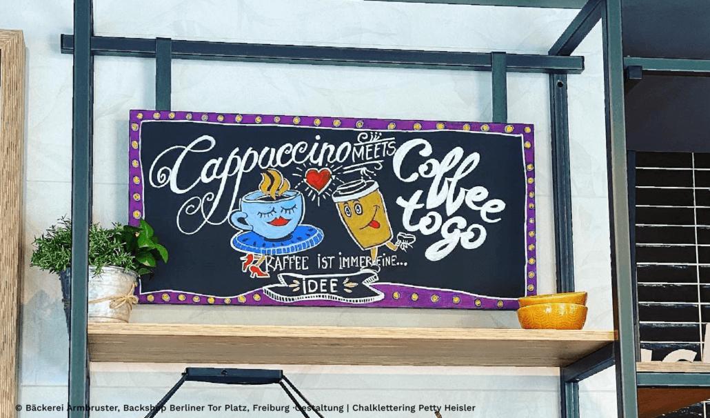 Petty Heisler, Chalklettering, Kreidetafel gestalten, Cappuccino, Coffee togo