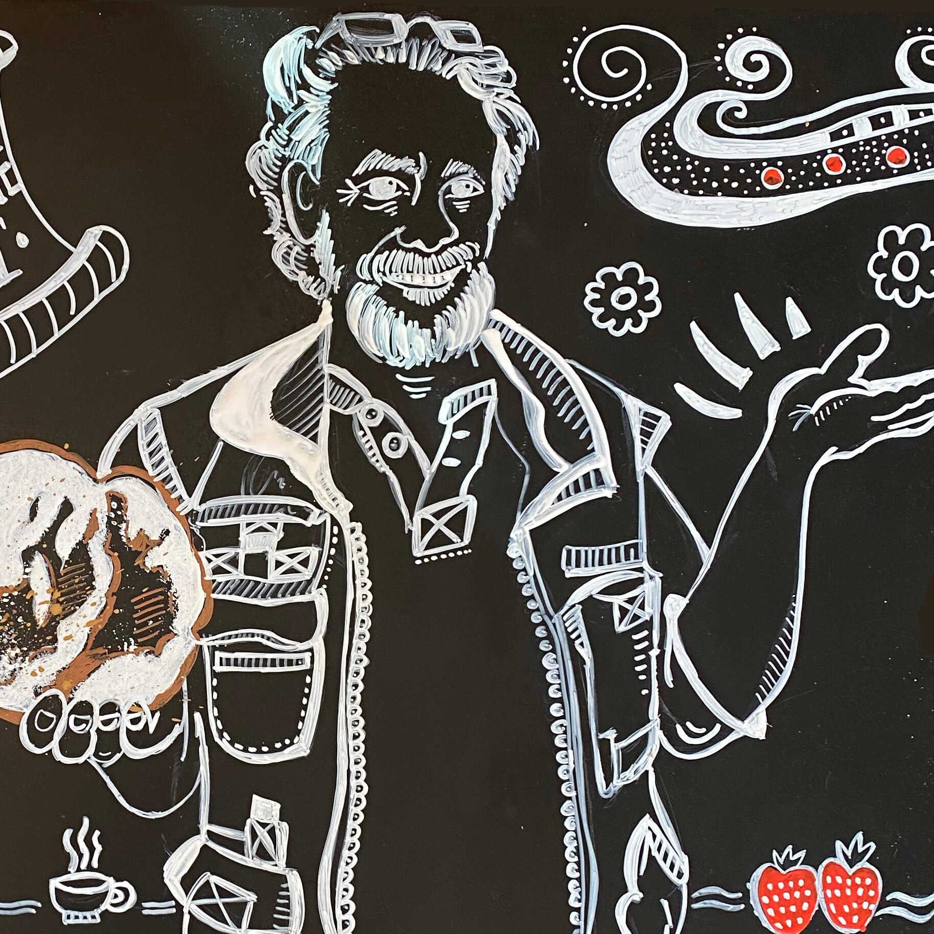 Illustration im Chalklettering-Stil mit Kreidestiften auf Kreidetafel von Bäcker Thomas Weiss , Glottertal-Germany