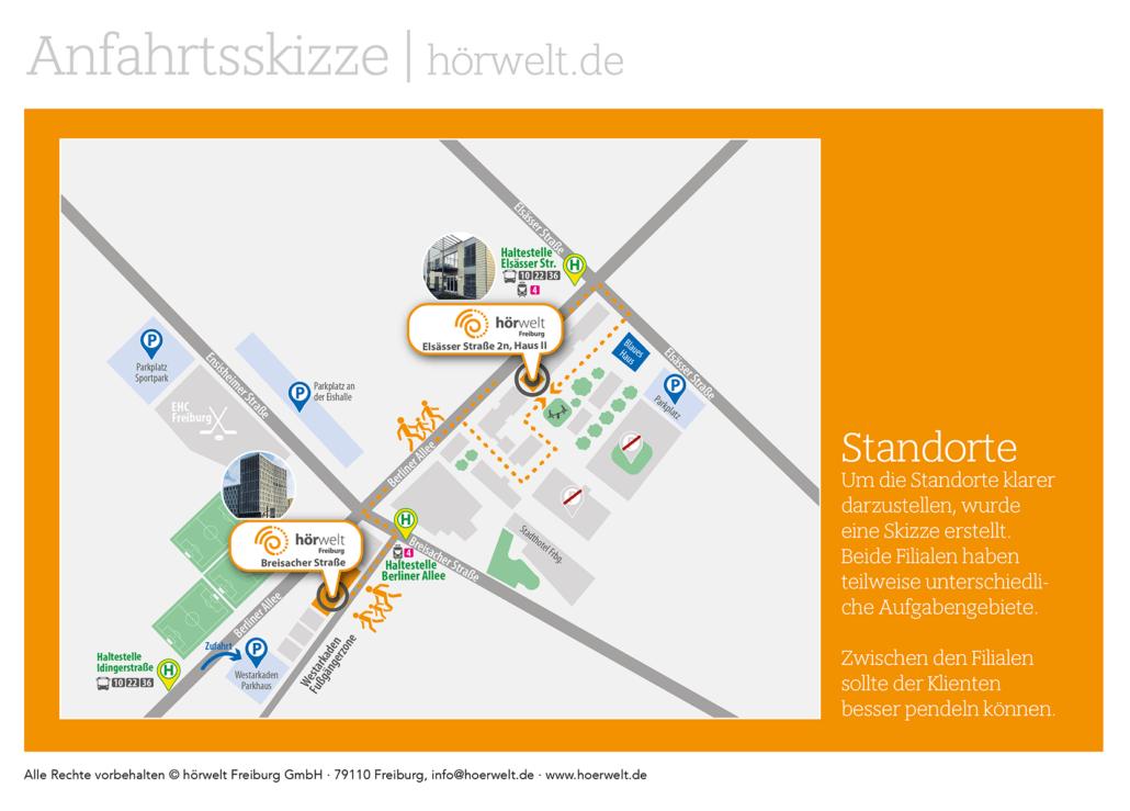 Grafikdesign und Umsetzung eines Imageflyers für die Hörwelt Freiburg. Typ der Falzung Altarfalz - 8-seitig.